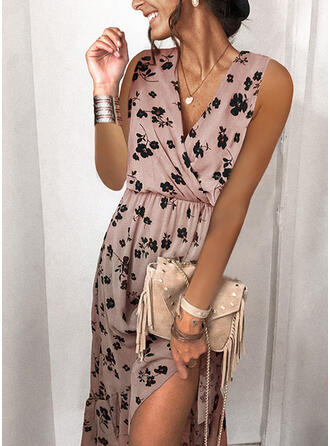 Print/Floral Sleeveless A-line Skater Casual Midi Dresses