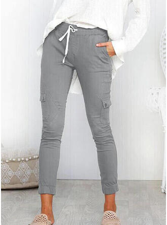 Einfarbig Taschen Shirred Lange Lässige Kleidung Sportlich Hosen