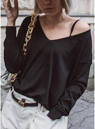 Einfarbig V-Ausschnitt Lange Ärmel Freizeit Basic Blusen