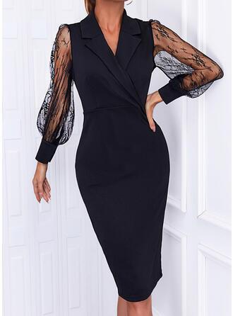 Solid Lace Long Sleeves Lantern Sleeve Sheath Knee Length Little Black/Elegant Pencil Dresses