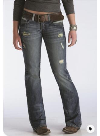 Solid Denim Long Elegant Vintage Plus Size Pocket Ripped Denim & Jeans
