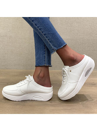 Women's Leatherette Flat Heel Round Toe Loafers Sneakers With Lace-up Solid Color shoes