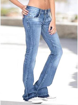 Shirred Übergröße Lange Lässige Kleidung Elegant Denim Jeans