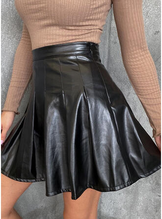 Polyester Striped Above Knee Pleated Skirts