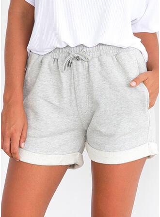 Taschen Shirred Über dem Knie Lässige Kleidung Sportlich Kurze Hose