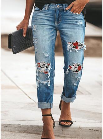 Übergröße Zerrissen Quaste Halloween Lange Elegant Sexy Denim Jeans
