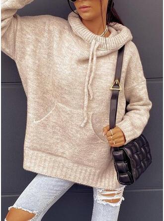 Einfarbig Taschen Mit Kapuze Freizeit Pullover