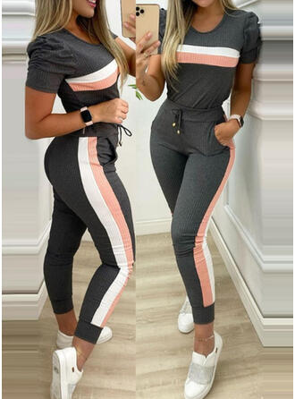 Striped Plus Size Drawstring Casual Sporty Suits