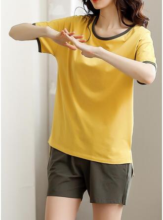 Baumwolle Einfarbig Geometrisch Rundhalsausschnitt Pyjama Set