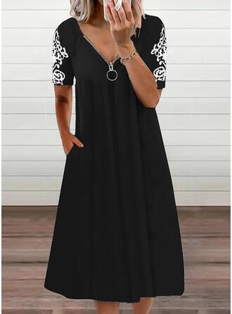 Print Short Sleeves Shift Tunic Casual Midi Dresses