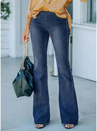 Solid Denim Long Elegant Vintage Plus Size Office/Business Pocket Denim & Jeans