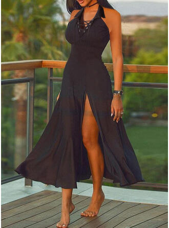 Solid/Lace-up Sleeveless A-line Skater Little Black/Casual Maxi Dresses