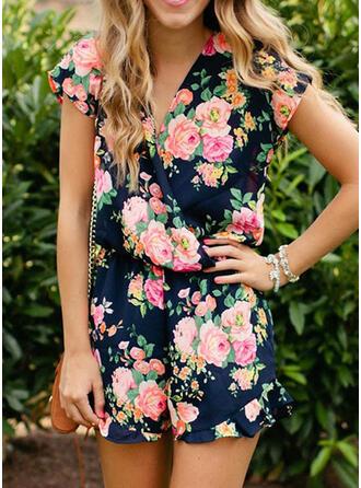 Floral Print V-Neck Short Sleeves Vacation Romper