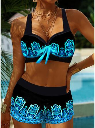 Splice color Strap V-Neck Retro Boho Tankinis Swimsuits