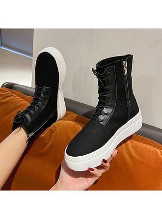 Women's Canvas Flat Heel Mid-Calf Boots Round Toe With Lace-up Solid Color shoes