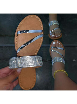 Women's Leatherette Flat Heel Sandals Peep Toe Slippers With Rhinestone Solid Color shoes