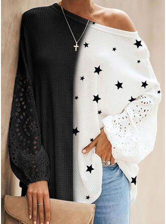 Print Color Block Round Neck Long Sleeves Dropped Shoulder Casual Blouses