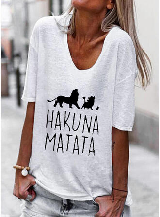 Animal Print Letter V-Neck 1/2 Sleeves T-shirts