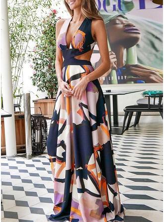 Print Sleeveless A-line Skater Casual/Elegant Maxi Dresses