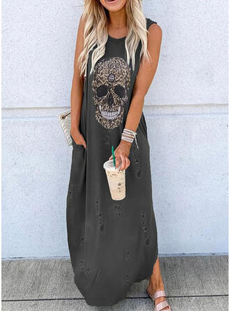 Leopard Sleeveless Shift Tank Casual Maxi Dresses