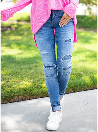Patchwork Pockets Skinny Denim Denim & Jeans
