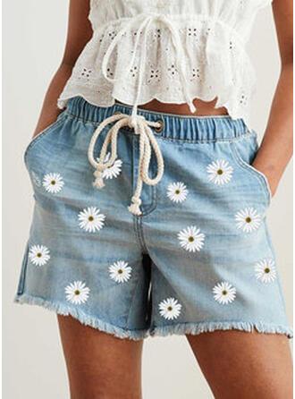 Druck Taschen Shirred Übergröße Über dem Knie Boho Lässige Kleidung Blumen Kurze Hose