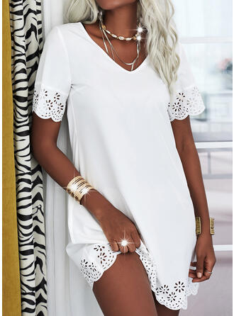 Lace/Solid Short Sleeves Shift Knee Length Casual Tunic Dresses