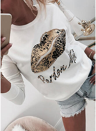 Leopard Beaded Letter Round Neck Long Sleeves Sweatshirt