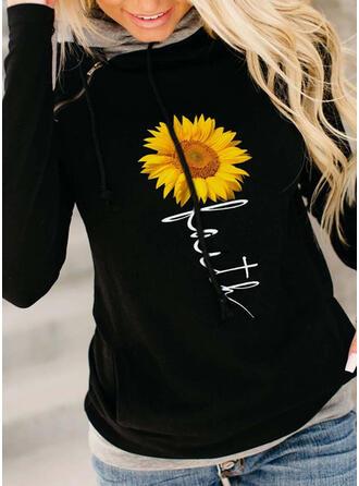 Sonnenblumendruck Figur Lange Ärmel Kapuzen