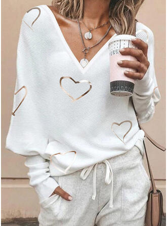Drucken V-Ausschnitt Freizeit Pullover