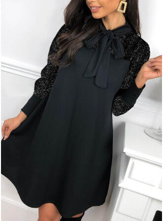Lace/Sequins/Solid Long Sleeves Shift Above Knee Little Black/Casual Tunic Dresses