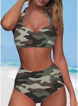 Halter V-Neck Sexy Casual Bikinis Swimsuits