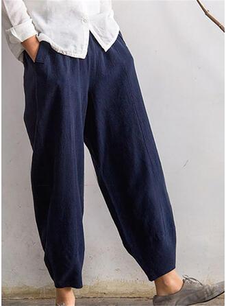 Taschen Shirred Übergröße Lange Boho Lässige Kleidung Lange Einfarbig Hosen