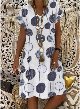 Print/PolkaDot Short Sleeves Shift Knee Length Casual T-shirt Dresses