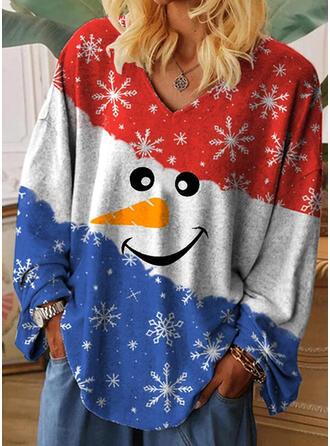 Drucken Geblockte Farben V-Ausschnitt Lange Ärmel Freizeit Weihnachten T-shirts