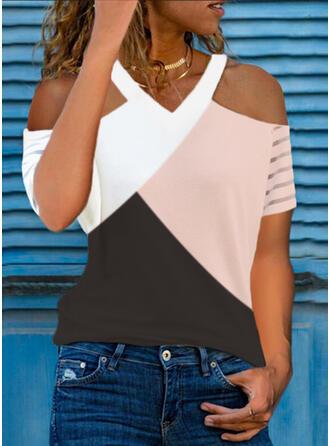 Color Block Cold Shoulder Short Sleeves Casual Blouses