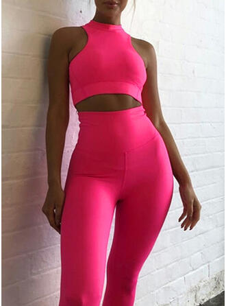Round Neck Sleeveless Solid Color Sports Leggings Sports Bras Yoga Sets