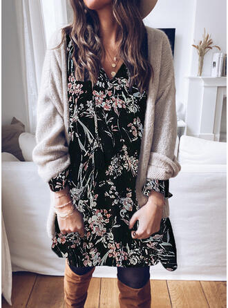 Lace/Print/Floral Long Sleeves Shift Knee Length Casual Tunic Dresses