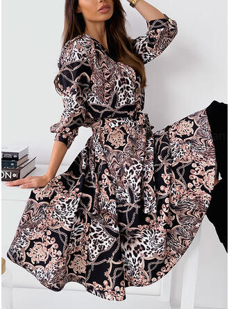 Print/Leopard Long Sleeves A-line Skater Casual Midi Dresses