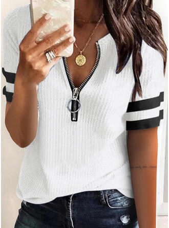 Striped Knit V-Neck Short Sleeves Casual Blouses