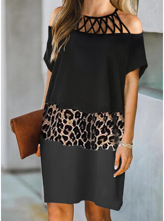 Color Block/Leopard/Hollow-out Short Sleeves Shift Above Knee Casual Tunic Dresses