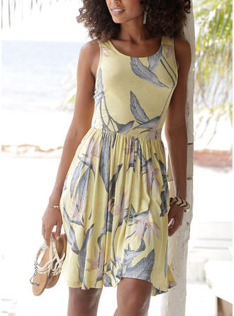 Print/Backless Sleeveless A-line Above Knee Sexy/Vacation Skater Dresses