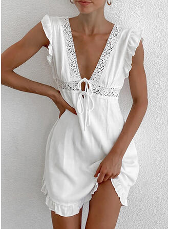 Lace/Solid/Backless/Lace-up Sleeveless A-line Above Knee Casual Skater Dresses