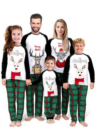 Rentier Farbblock Karierte Schreiben Passende Familie Christmas Pajamas