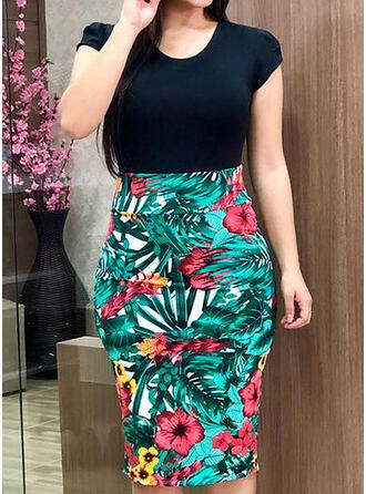 Plus Size Floral Print Short Sleeves Bodycon Knee Length Casual Elegant Dress