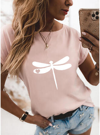 Animal Print Heart Round Neck Short Sleeves T-shirts