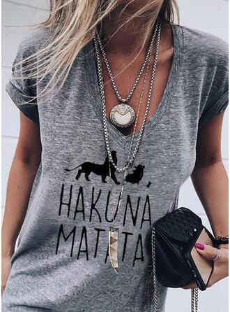 Animal Print Figure V-Neck Short Sleeves T-shirts