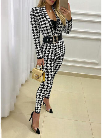 Houndstooth Elegant Plus Size Blouse & Two-Piece Outfits Set