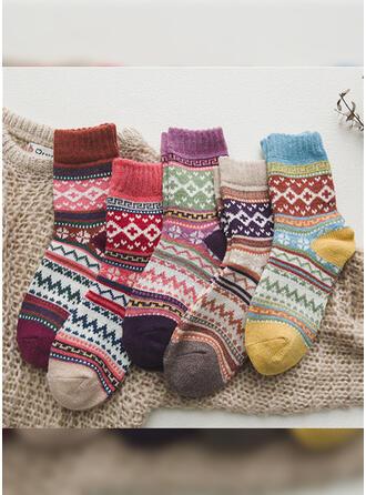 Blumen/Gestreift/Geometrische drucken/Bunt Warmen/Atmungsaktiv/Crew Socks Socken (Satz von 5 Paaren)