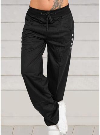 Shirred Übergröße Kordelzug Lange Lässige Kleidung Einfarbig Hosen